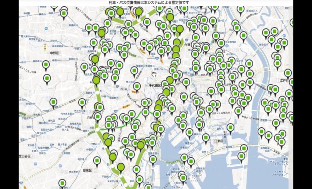 図2 公共交通情報サービスのエンドユーザ向けインターフェイスのプロトタイプ(大画面用)